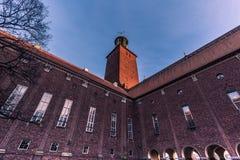 21 de enero de 2017: Detalle del ayuntamiento de Estocolmo, Suecia Imágenes de archivo libres de regalías