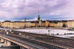 21 de enero de 2017: Ferrocarril del subterráneo en la ciudad vieja de Estocolmo, S Fotografía de archivo