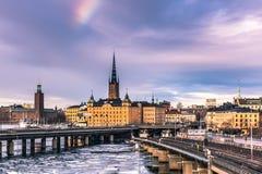 21 de enero de 2017: Ferrocarril del subterráneo en la ciudad vieja de Estocolmo, S Imagenes de archivo