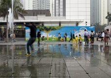 21 de enero de 2015, Hong Kong: niños despacio de la demostración del obturador Foto de archivo libre de regalías
