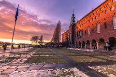 21 de enero de 2017: Jardín del ayuntamiento de Estocolmo, Suecia Imagenes de archivo