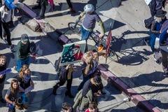 21 DE ENERO DE 2017, LOS ÁNGELES, CA La vista aérea a 750.000 participa en marzo de las mujeres, activistas que protestan a Donal Fotografía de archivo