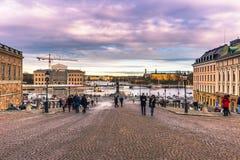 21 de enero de 2017: Panorama de Estocolmo del palacio real, S Fotografía de archivo libre de regalías