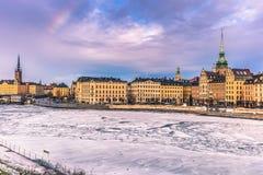 21 de enero de 2017: Panorama de la ciudad vieja de Estocolmo, Suecia Imagen de archivo libre de regalías