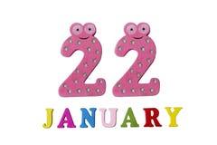 22 de enero en el fondo, los números y las letras blancos Fotos de archivo libres de regalías
