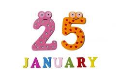 25 de enero en el fondo, los números y las letras blancos Imágenes de archivo libres de regalías