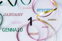 1 de enero en otros idiomas fotos de archivo