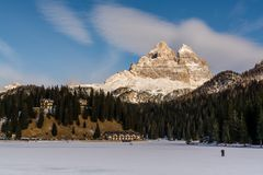 4 de enero de 2019 Misurina, paisaje de Italia del lago helado Misurina fotos de archivo libres de regalías