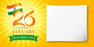 26 de enero, saludos felices de Idia del día de la república Fotografía de archivo