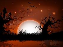 De enge achtergrond van de de volle maannacht van Halloween. Stock Afbeeldingen