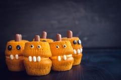De enge cakes van de pompoenkop Royalty-vrije Stock Fotografie