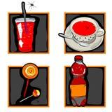 De enge dranken van Halloween en suikergoedpictogrammen Stock Afbeelding