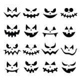De enge Halloween-geplaatste pictogrammen van pompoengezichten Royalty-vrije Stock Foto
