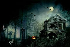 De enge speciale nacht van huishalloween Stock Foto