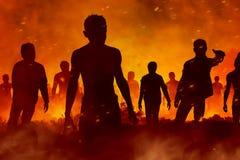 De enge zombieën silhouetteren royalty-vrije illustratie