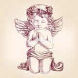 De engel bidt op zijn knieënhand getrokken vector Royalty-vrije Stock Foto's