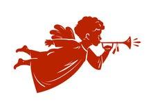 De Engel die van silhouetkerstmis een trompet blazen Cherubijn, Hemels boodschapperssymbool Godsdienst vectorillustratie royalty-vrije illustratie