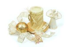 De engel en de kaars van Kerstmis Royalty-vrije Stock Foto