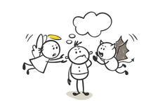 De engel en de duivel geven advies stock illustratie