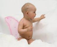 De engel met roze vleugels (wolkenimitatie) Royalty-vrije Stock Foto