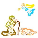 De engel scheen aan de herders om de geboorte van de Verlosser aan te kondigen stock illustratie