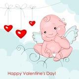 De engel van de baby met drie harten Stock Foto