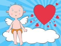 De engel van de jongen op een wolk Stock Fotografie