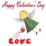 De engel van de valentijnskaartenfee Blonde die het water geven liefde op witte achtergrond wordt geïsoleerd Stock Foto's