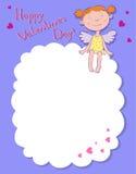 De engel van het meisje op een wolk Stock Foto's