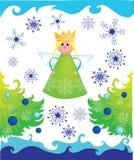 De engel van Kerstmis met bomen en sneeuwvlokken Stock Foto