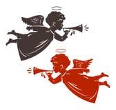 De Engel van Kerstmis speelt de trompet Silhouet, vectorillustratie vector illustratie