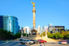 De Engel van Onafhankelijkheid in Paseo DE La Reforma in Mexico-City royalty-vrije stock foto's