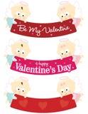 De engelen die van de baby de geïsoleerdeg reeks van de Valentijnskaart houden banners Stock Foto's