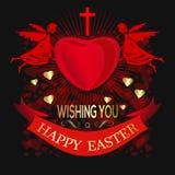 De engelen houden groot rood hart Gelukkige Pasen Het begroeten inscrip vector illustratie