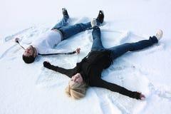 De engelen van de sneeuw Stock Foto's