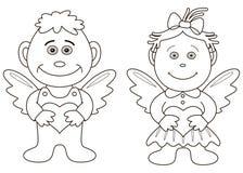 De engelen van het meisje en van de jongen met harten, contouren Stock Foto