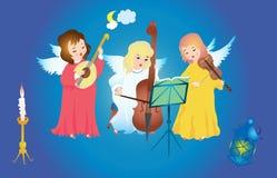 De engelen van Kerstmis het zingen vector illustratie