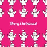 De Engelen van Kerstmis Naadloze achtergrond met engelen Leuk beeldverhaal stock illustratie