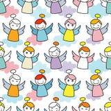 De Engelen van Kerstmis Naadloze achtergrond met engelen Leuk beeldverhaal vector illustratie