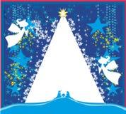 De Engelen van Kerstmis De scènekaart van de Kerstmis godsdienstige geboorte van Christus royalty-vrije illustratie