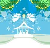 De Engelen van Kerstmis De scènekaart van de Kerstmis godsdienstige geboorte van Christus vector illustratie