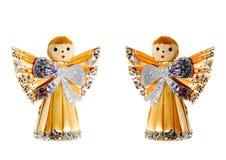 De Engelen van Kerstmis van het stro Stock Foto's