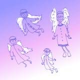 De engelen van krabbelkerstmis op een lilac achtergrond stock illustratie