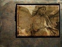 De engelenprentbriefkaar van Grunge - sepia royalty-vrije stock afbeelding