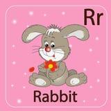 De Engelse brief R en een konijn vector illustratie