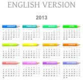 de Engelse versie van de 2013 kleurpotlodenkalender vector illustratie