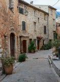 De engte cobbled straat met bloemen in het oude dorp Tourrettes royalty-vrije stock fotografie