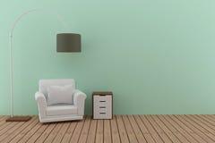 De enige bank met lamp in de groene en houten vloerruimte in 3D geeft beeld terug Stock Foto's