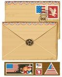 De envelop en de zegels van de V.S. Royalty-vrije Stock Foto