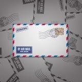 De envelop van de luchtpost met postzegel Royalty-vrije Stock Fotografie